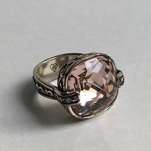 Rare Brighton Silver Tone Morganite Pink Color Crystal Ring